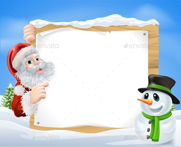 Santa Snowman Snow Scene - Christmas Seasons/Holidays