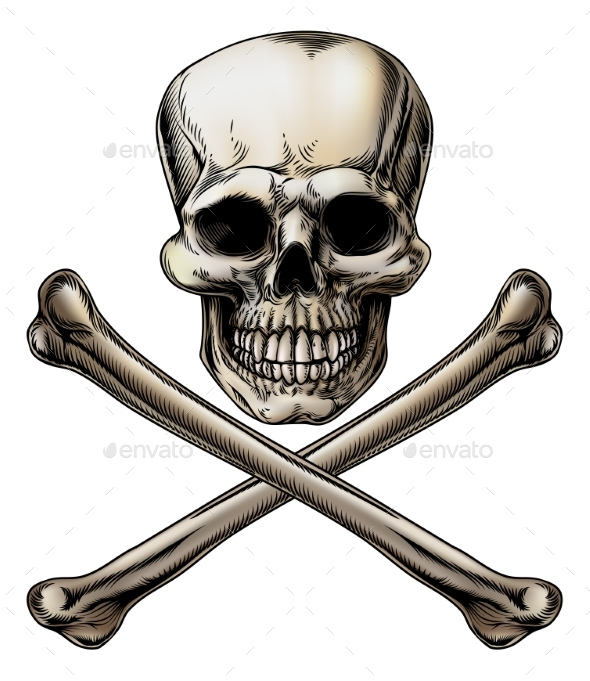 Jolly Roger Skull and Crossbones Sign - Miscellaneous Vectors