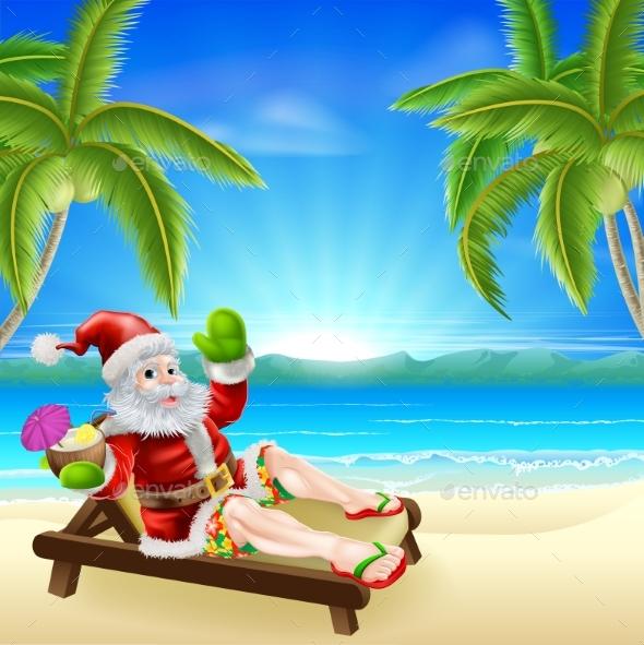 Summer Christmas Santa Beach Scene - Travel Conceptual