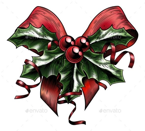 Vintage Woodcut Christmas Holly Bow - Christmas Seasons/Holidays