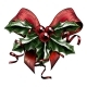 Vintage Woodcut Christmas Holly Bow