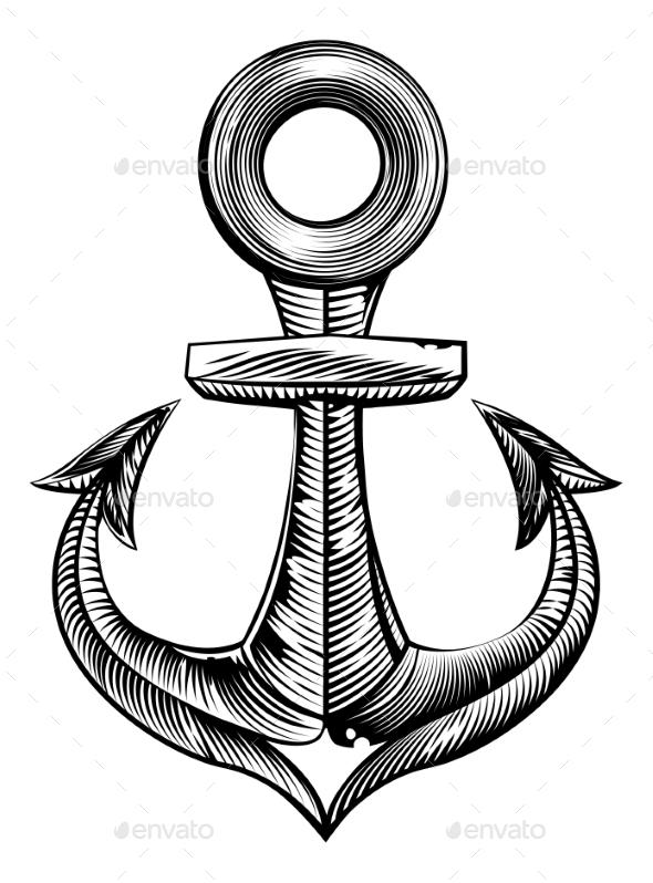 Vintage Style Anchor - Miscellaneous Vectors