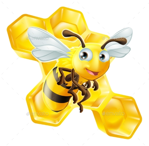 Cartoon Bee and Honey Comb - Animals Characters