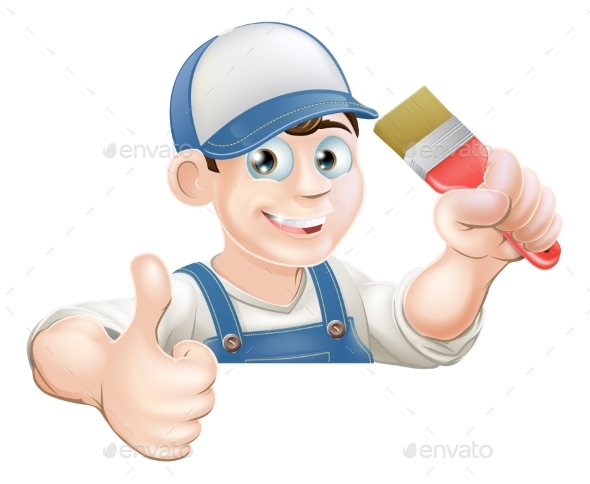 Paint Brush Man Over Sign Thumbs Up - Services Commercial / Shopping