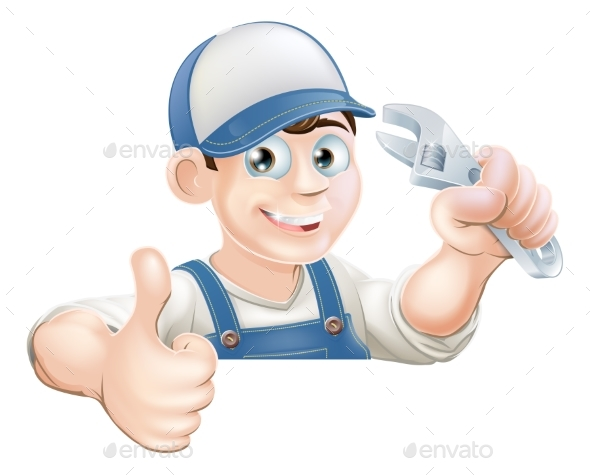 Wrench Man Over Banner Thumbs Up - People Characters