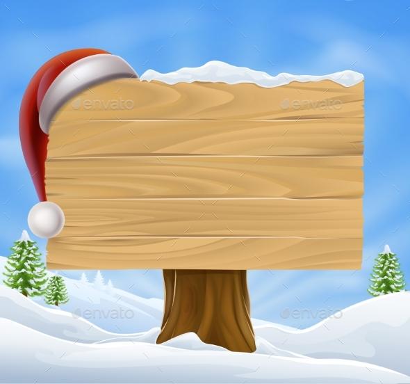 Snow Landscape Christmas Santa Hat Sign - Christmas Seasons/Holidays