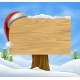 Snow Landscape Christmas Santa Hat Sign