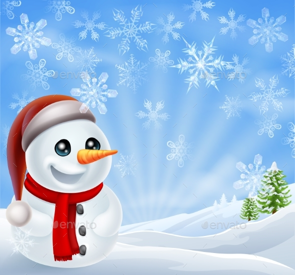 Christmas Snowman in Winter Scene - Christmas Seasons/Holidays