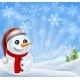 Christmas Snowman in Winter Scene