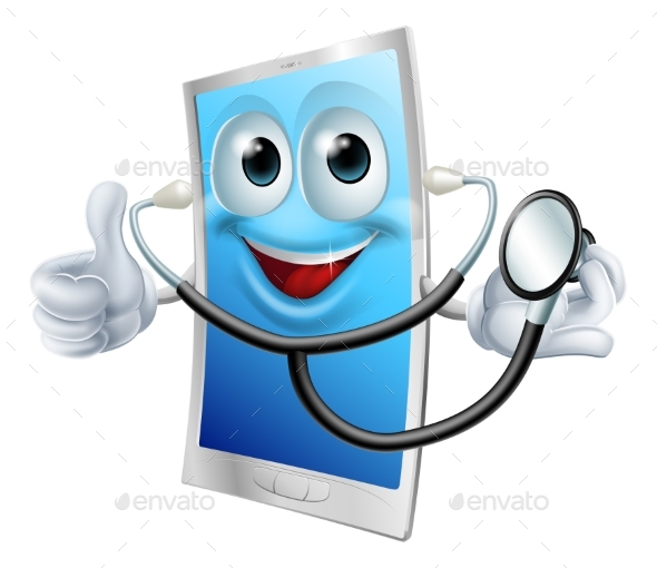 Stethoscope Cartoon Phone Mascot - Health/Medicine Conceptual