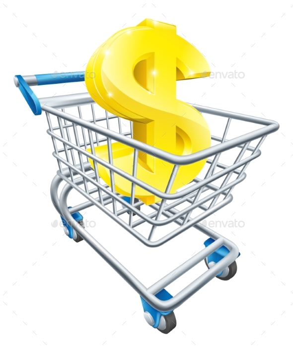 Dollar Money Trolley Concept - Miscellaneous Vectors