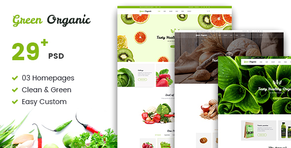 Green Organic - Organic Store & Bakery PSD Templates - Food Retail