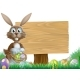 Rabbit and Easter Sign