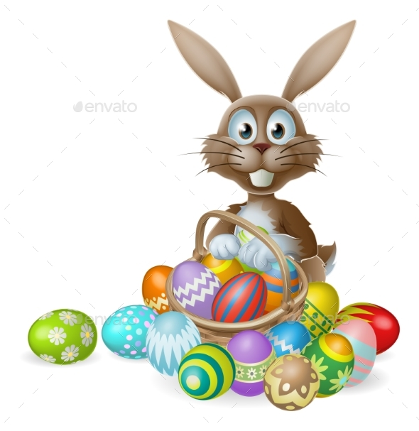 Easter Bunny with Eggs Basket - Animals Characters