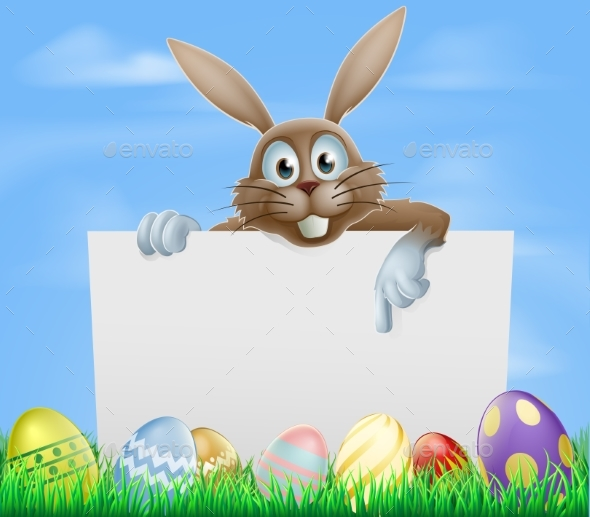 Easter Bunny and Eggs Sign - Animals Characters