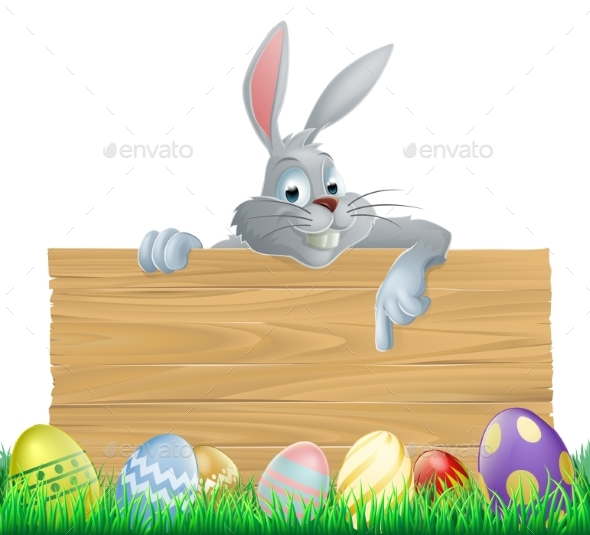 Easter Eggs and Bunny Sign - Animals Characters