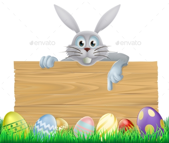 Eggs and Easter Bunny Sign - Animals Characters