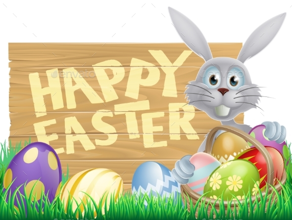 Wooden Sign Happy Easter Bunny - Animals Characters