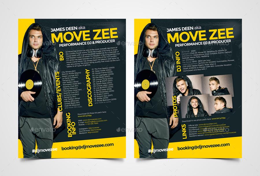 dj press kit template free - movedj dj press kit dj resume dj rider psd template