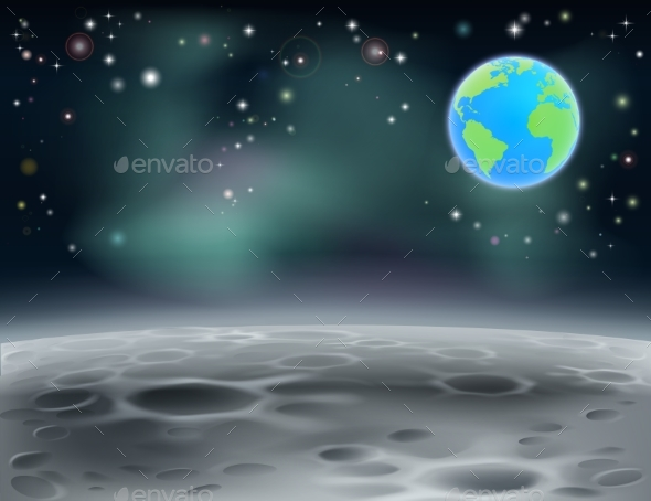 Moon Space Earth Background - Miscellaneous Vectors