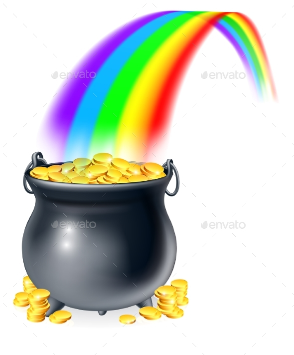 Pot of Gold at the End of the Rainbow - Miscellaneous Vectors