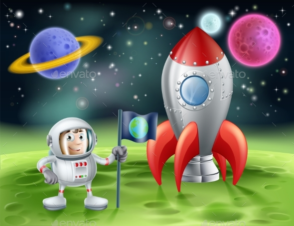 Cartoon Astronaut and Vintage Rocket - Backgrounds Decorative