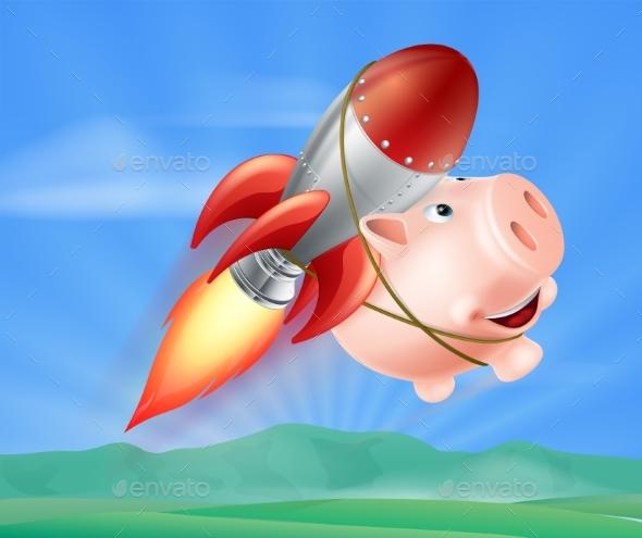 Flying Rocket Piggy Bank - Miscellaneous Vectors