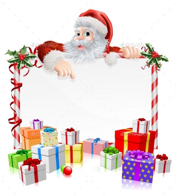 Santa Christmas Gifts Sign - Christmas Seasons/Holidays