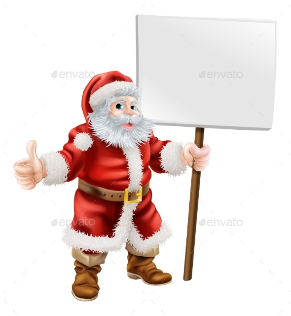 Santa Holding Sign and Doing Thumbs Up - Christmas Seasons/Holidays