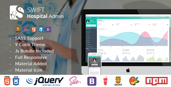 Swift Hospital - Responsive Material Admin for Doctors & Hospitals