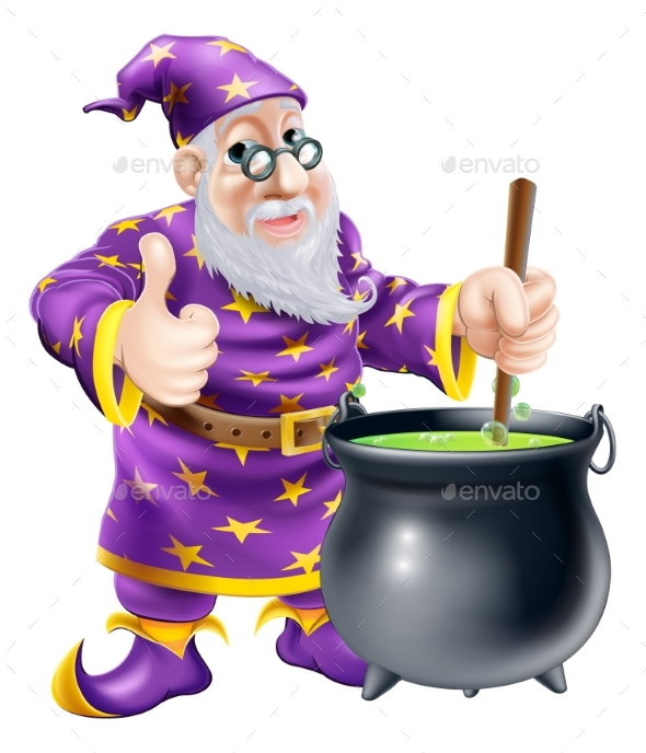 Wizard and Cauldron - People Characters