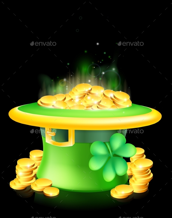 Leprechaun Hat Full of Gold - Miscellaneous Seasons/Holidays