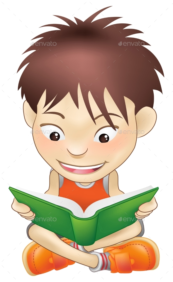 Young Boy Reading a Book - People Characters