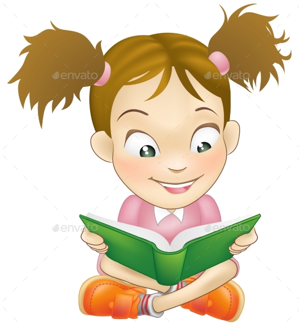 Young Girl Reading Book - People Characters