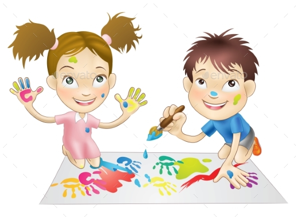Two Young Children Playing with Paints - Miscellaneous Vectors