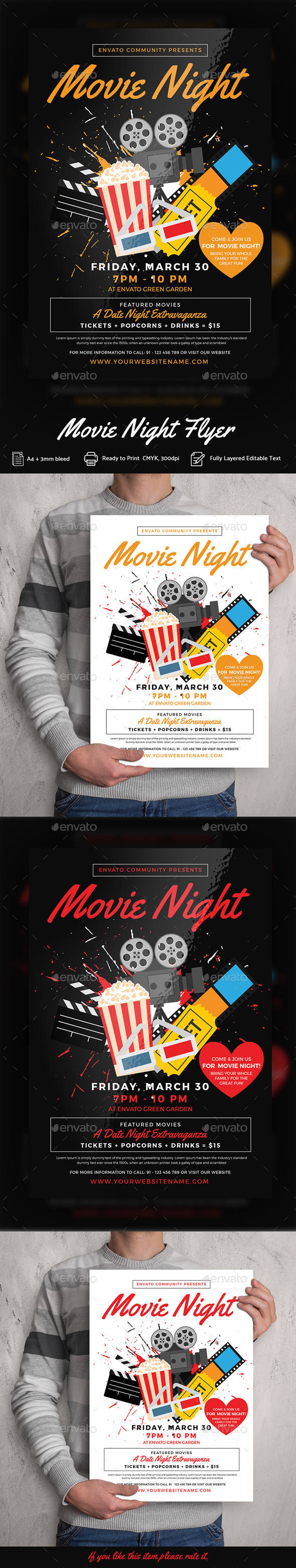 Movie Night Flyer Templates - Print Templates