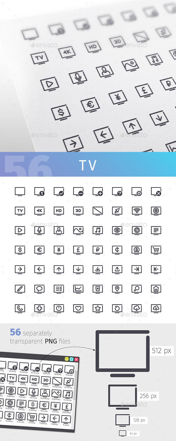 TV Line Icons Set - Media Icons