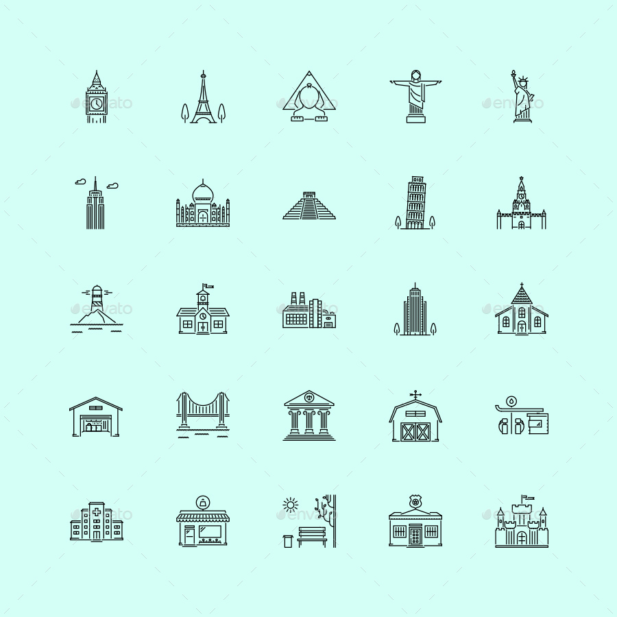 The City Outline Icons 25