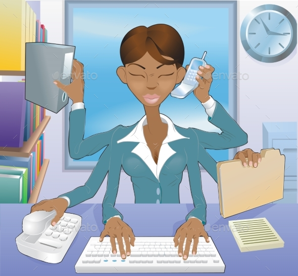 Business Woman Multi-Tasking - Concepts Business