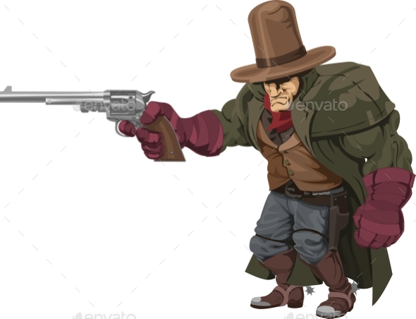 Cowboy Gunman with Pistol - People Characters