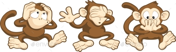 Hear No Evil, See No Evil, Speak No Evil Monkeys - Animals Characters