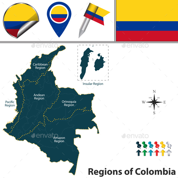 Map of Colombia with Natural Regions - Travel Conceptual
