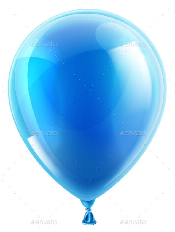 Blue Birthday or Party Balloon - Man-made Objects Objects