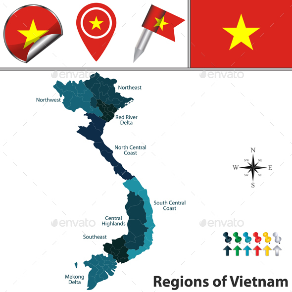 Map of Vietnam with Regions - Travel Conceptual