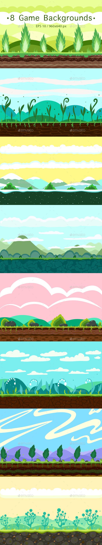 8 Game Backgrounds - Vectors