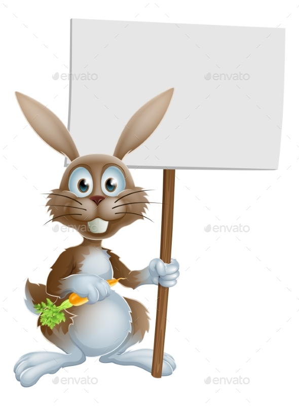 Cartoon Bunny Rabbit Carrot and Sign - Animals Characters