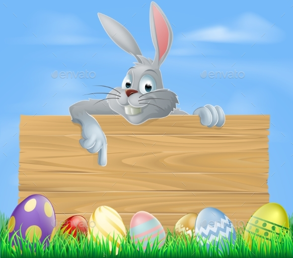 Easter Bunny and Wooden Sign - Animals Characters