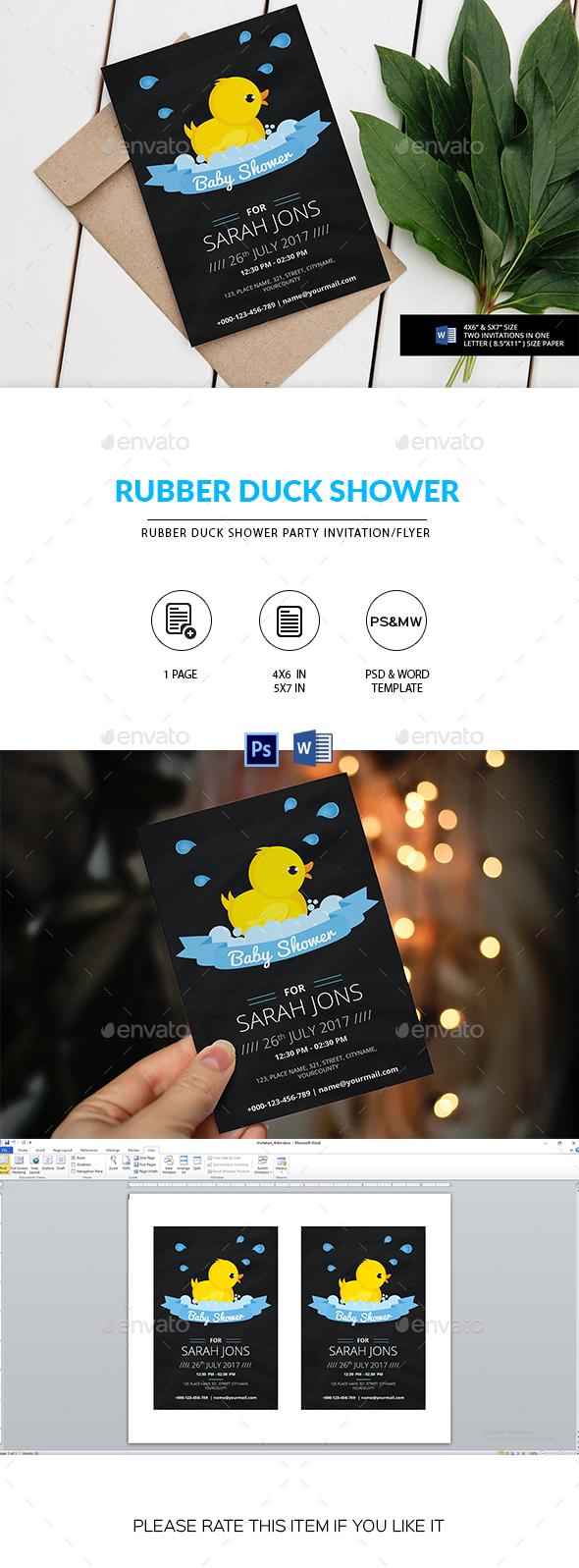 Chalkboard Rubber Duck Birthday Invitation - Invitations Cards & Invites