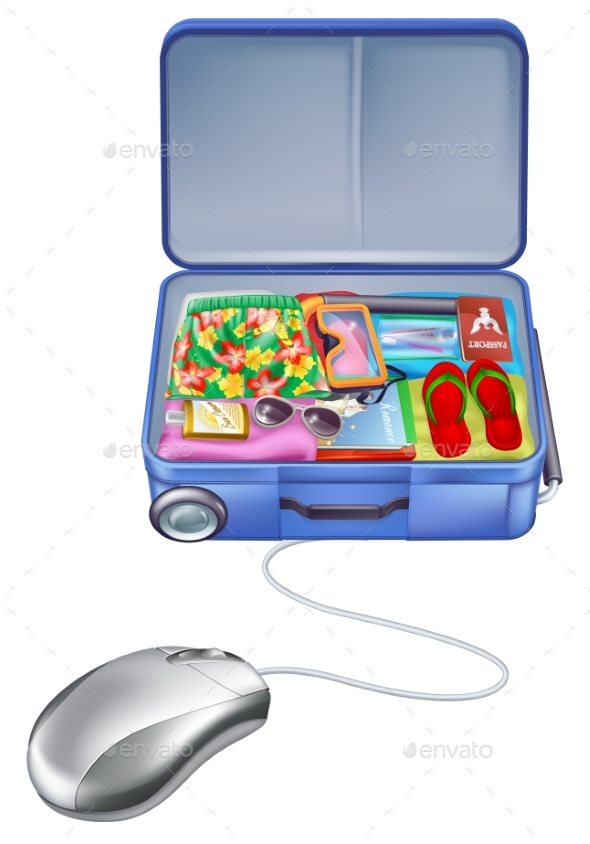 Holiday Vacation Suitcase Mouse Concept - Travel Conceptual