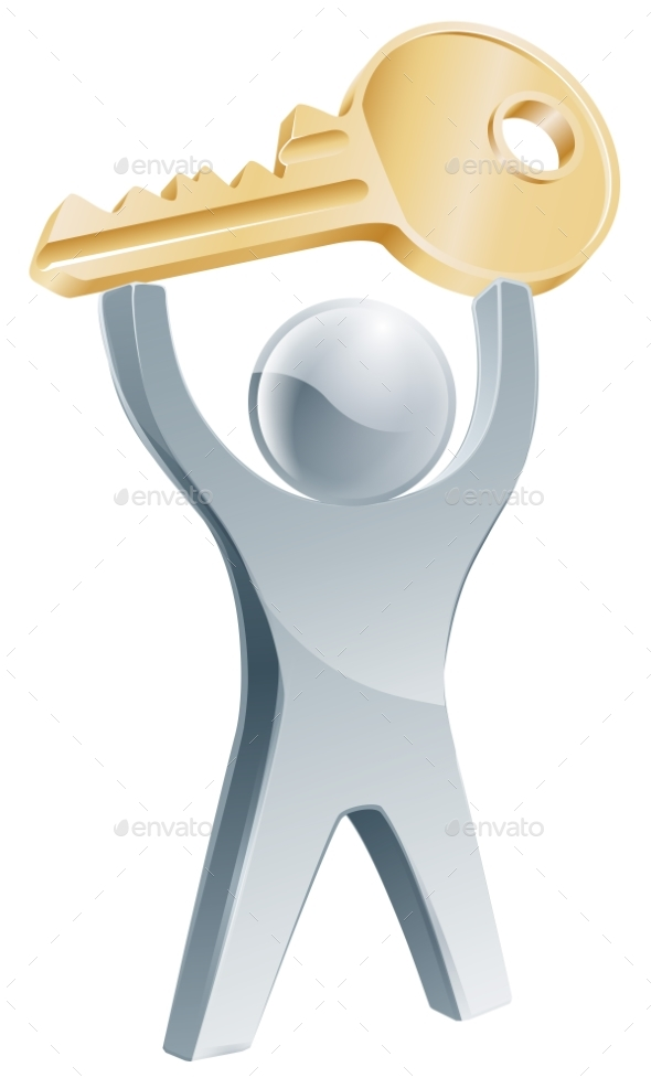 Person Holding Up Key To Success - People Characters